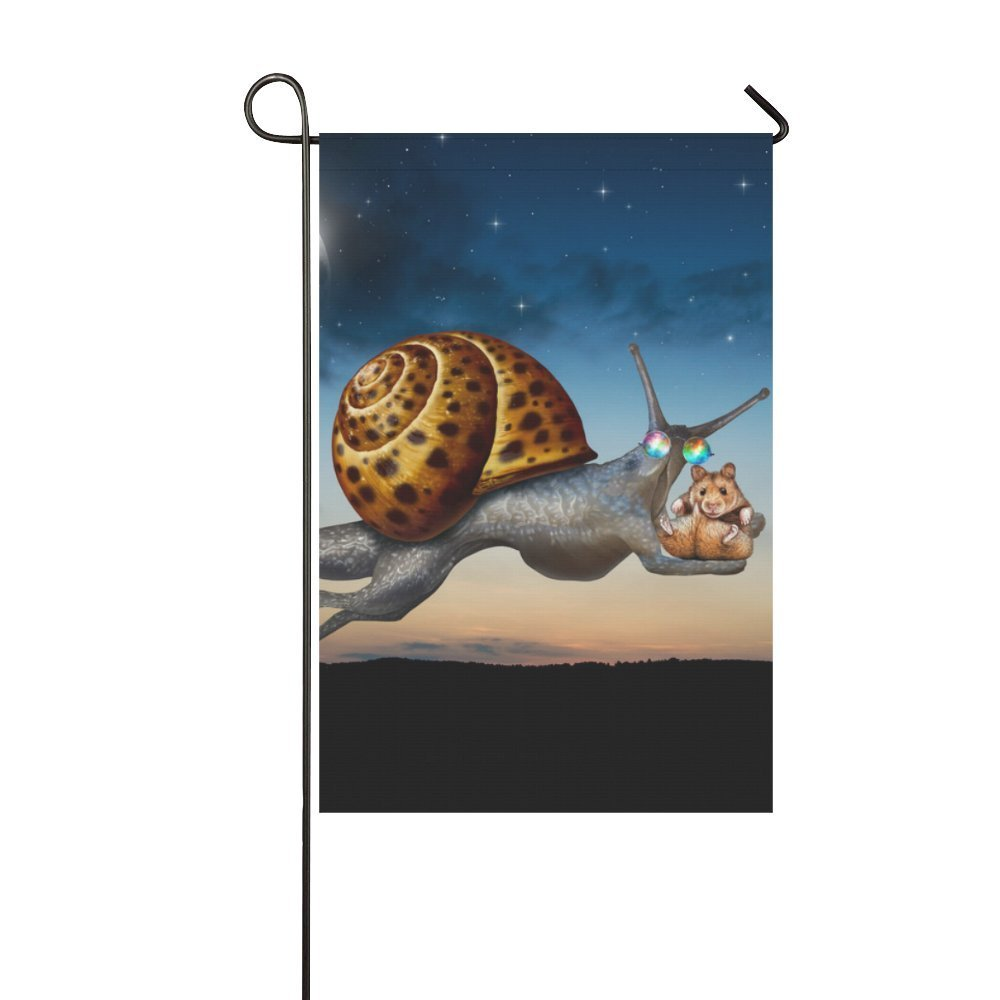 MYPOP Flying Snail with Marmots Garden Flag 12x18 inches by MYPOP