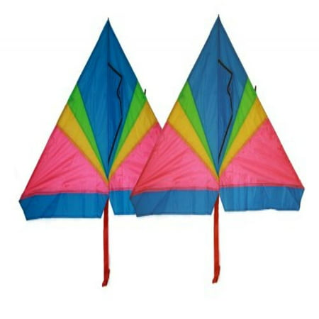 Rainbow delta kite (2 sets) 46 inch x 28 inch with long tails with flying line and handle (Kite Tails)