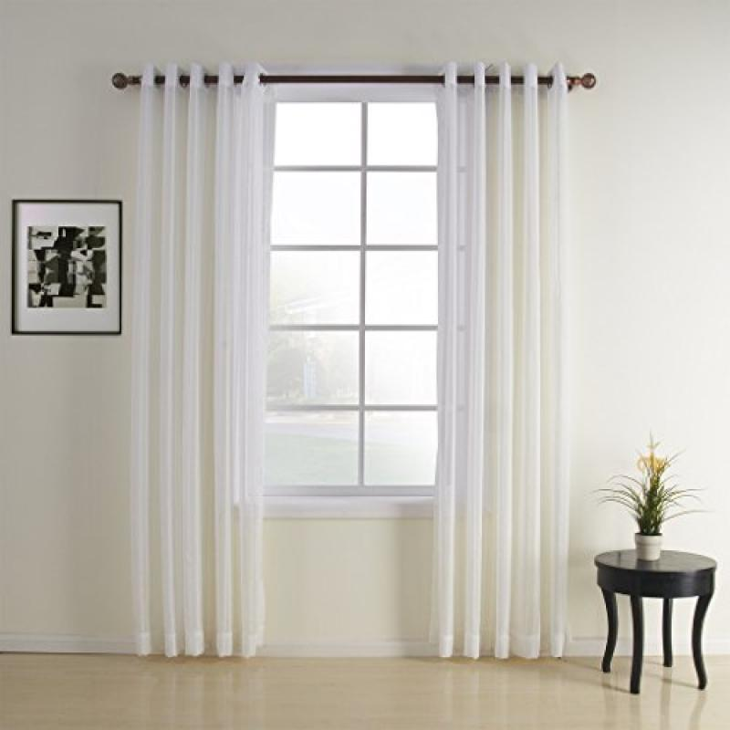 IYUEGO Jacquard White Contemporary Sheer Curtain Grommet ...