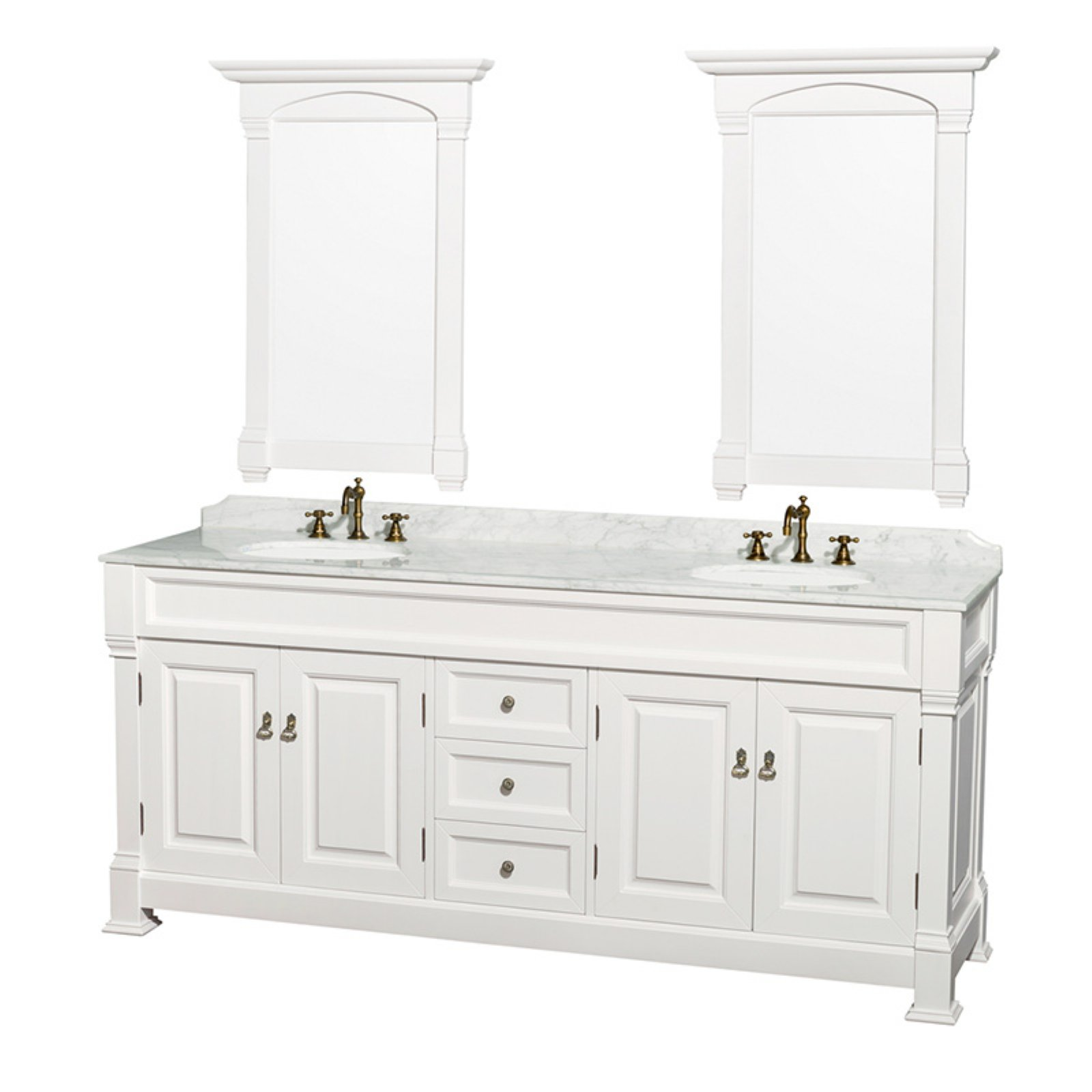 Wyndham Collection Andover 80 inch Double Bathroom Vanity in White with White Carrera Marble Countertop, Undermount Oval Sinks, and 28 inch Mirrors