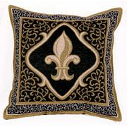 Fleur De Lis Black Decorative Tapestry Throw Pillow USA Made