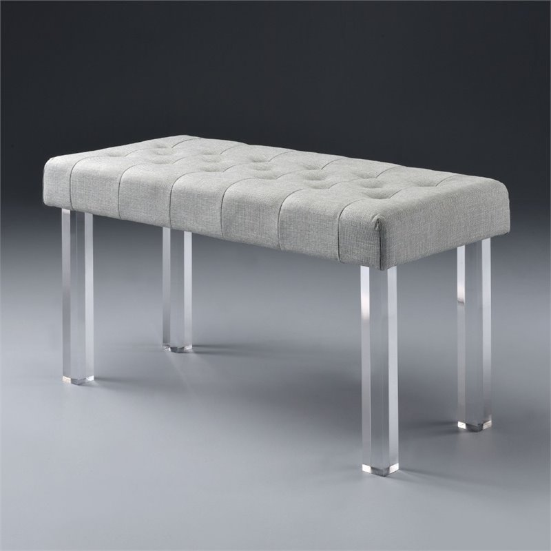 Kingfisher Lane Bench in Linen and Clear Acrylic
