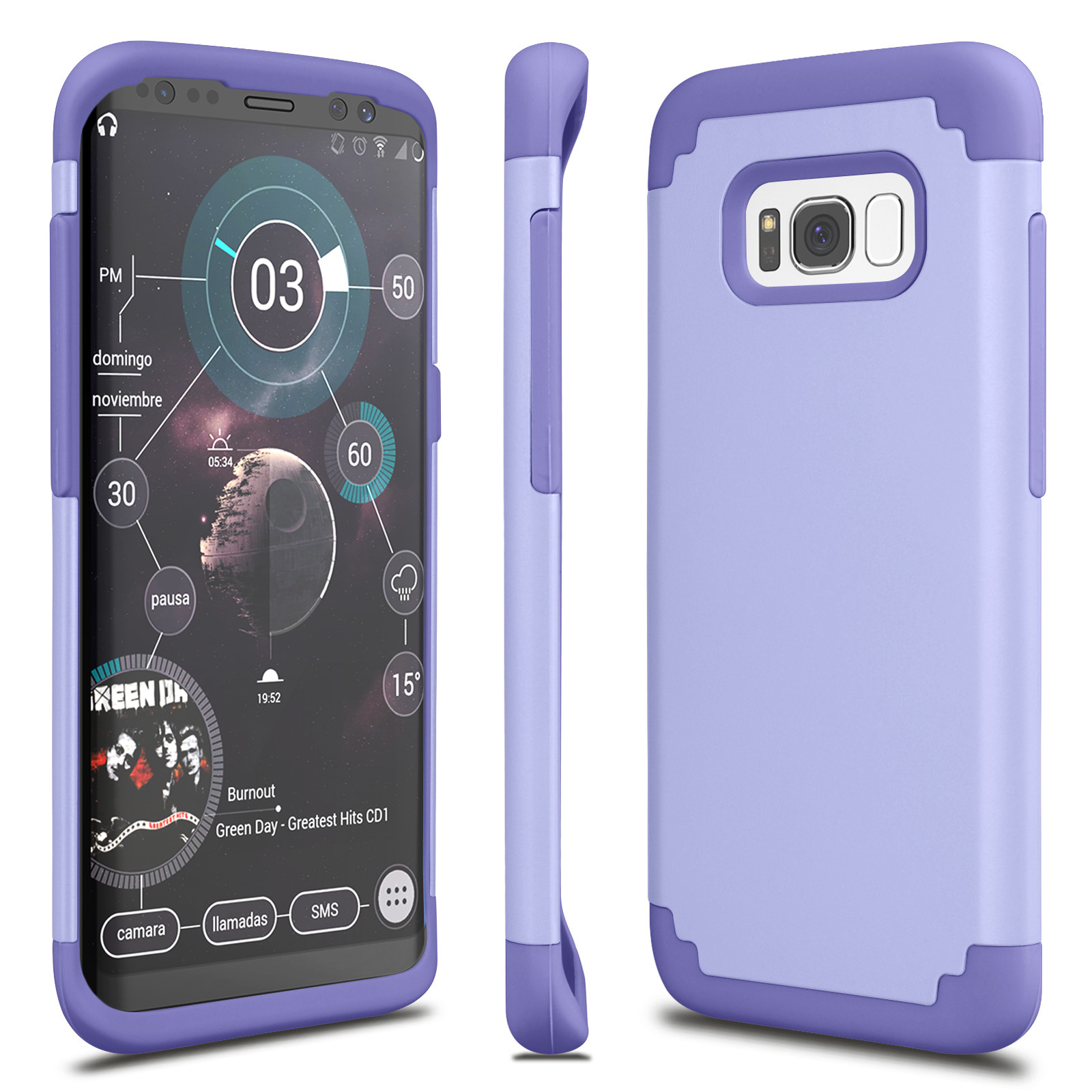 Galaxy S8 Case, Tekcoo [Tbaron Series] [Lavender] Shock Absorbing Hybrid Rubber Plastic Impact Defender Rugged Slim Hard Case Cover Shell For Samsung Galaxy S8 S VIII GS8 All Carriers