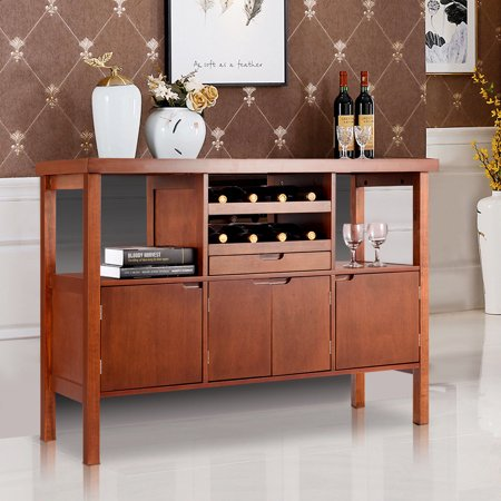 Costway Brown Wooden Buffet Server Table Storage Cabinet Sideboard Dining W/Wine Rack