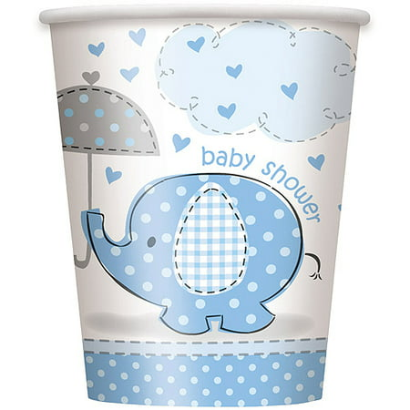 Blue Elephant Baby Shower Paper 9oz Cups, 8ct - Blue Solo Cups