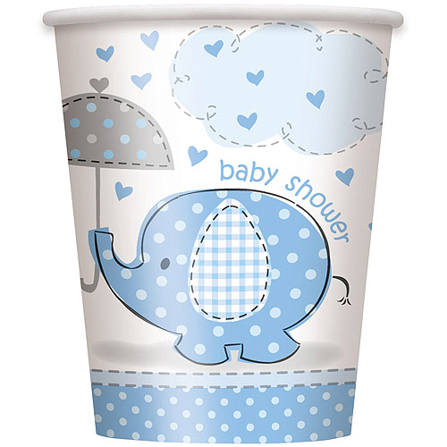 Blue Elephant Baby Shower Paper 9oz Cups, 8ct
