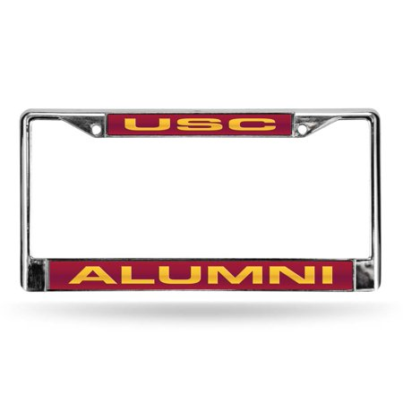USC Laser Etched Chrome License Plate Frame - Diamond Laser License Plate