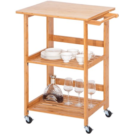JRFOTOO Rolling Wood Kitchen Island Storage Trolley Utility Cart Rack w/Storage Drawers, Dining Stand w/Wheels Countertop