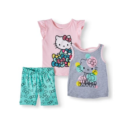 Hello Kitty T-shirt, Tank Top & Shorts, 3pc Outfit Set (Toddler Girls)