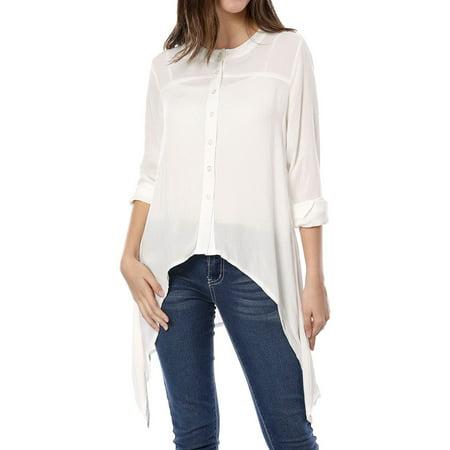 Fashion Single (Unique Bargains Women's Fashion Long Sleeve Single Breasted Uneven Hem Blouse )