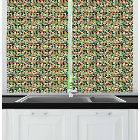 Colorful Curtains 2 Panels Set Foliage Leaves Silhouette Pattern
