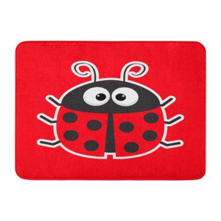 KDAGR Cute Cartoon Lady Bug Red Baby Flat Antenna Doormat Floor Rug Bath Mat 30x18 inch Bug Rug Baby