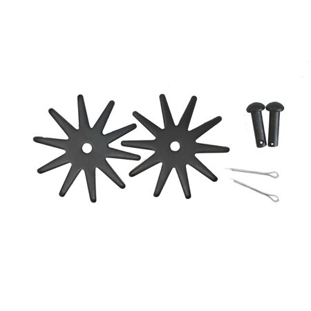 Spur Replacement Rowels Set Pins Cotter Key Large 2.125 Inch 10 Point Black