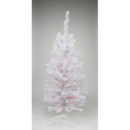 3 X 18 Pre Lit Slim White Tinsel Artificial Christmas Tree Pink Lights