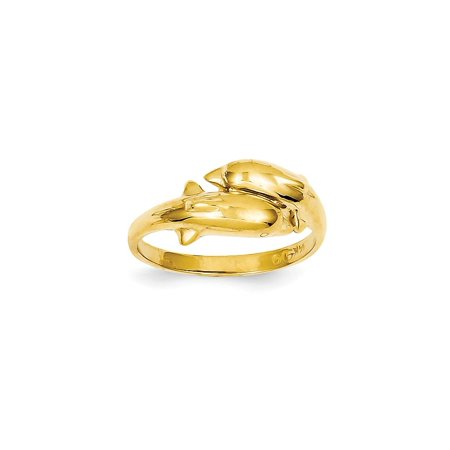 Solid 14k Yellow Gold Double Dolphin Ring (2mm) - Size