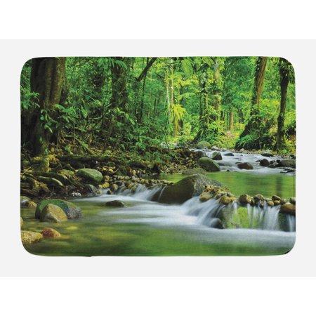 Rainforest Bath Mat, Mountain Stream in a Tropical Rain Forest Foliage Countryside Wilderness Scene, Non-Slip Plush Mat Bathroom Kitchen Laundry Room Decor, 29.5 X 17.5 Inches, Green Brown, Ambesonne