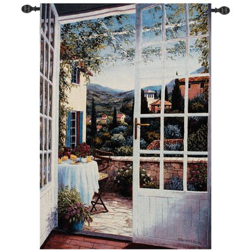 """View From the Veranda Tuscan Countryside Wall Art Hanging Tapestry 48"""" x 35"""""""