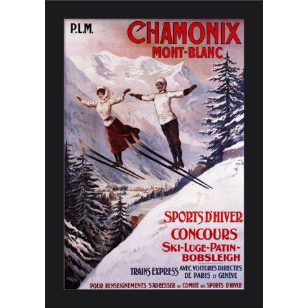 Giclee Print Wood Print - Chamonix Mont-Blanc, France - Couple Skiing - Vintage Travel Poster (12x18 Giclee Art Print, Gallery Framed, Black Wood)