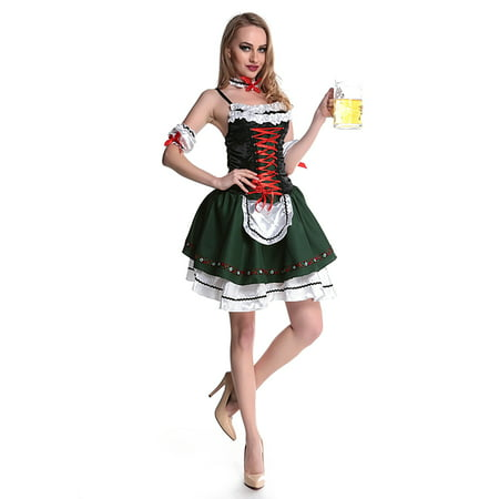 HDE Womens Ocktoberfest Halloween Costume Beer Maid Dress w/ Garter & Arm Bands - Beer Maid Halloween Costume