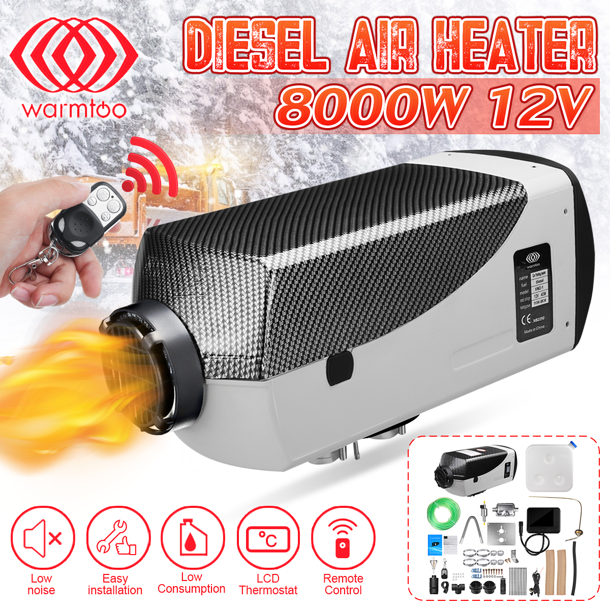8000//5000W 12V Diesel Air Heater Thermostat Remote for Car Truck Boat Trailer RV