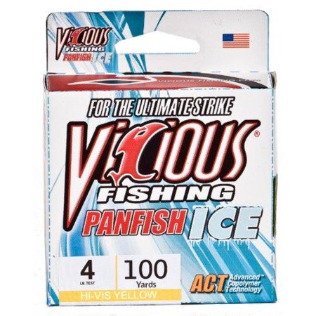 Vicious panfish ice fishing line 100 yard 1 pound hi vis for Walmart ice fishing