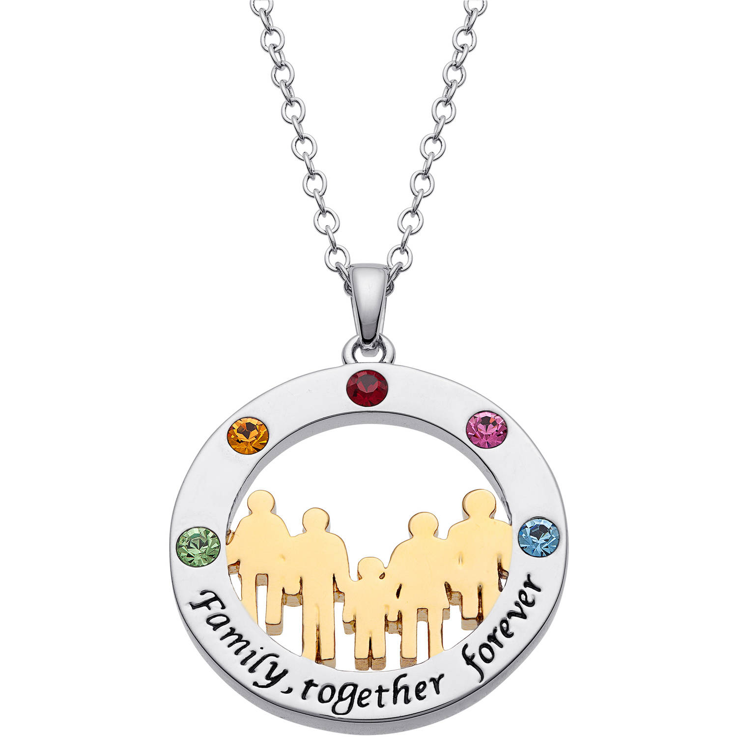 "Personalized Two-Tone ""Family Together, Forever"" Circle Birthstone Pendant"