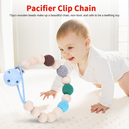 Feeding Clip - WALFRONT Infant Pacifier Soother Holder Crochet Wooden Beads Chain Metal Clip Baby Shower Feeding Toy, Pacifier Strap,Pacifier Holder