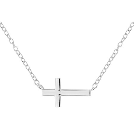 .925 Sterling Silver Sideways Horizontal Cross Children's Necklace for Kids