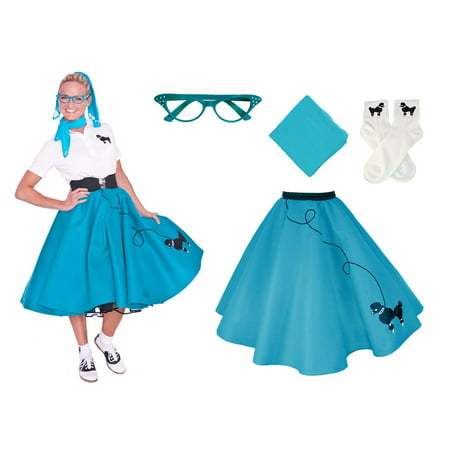 cf7bdb8c08833 Adult 4 pc - 50's Poodle Skirt Outfit - Teal / XLarge - Walmart.com