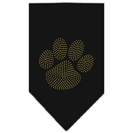 Paw Gold Rhinestone Bandana Black Small - Gold Bandanas