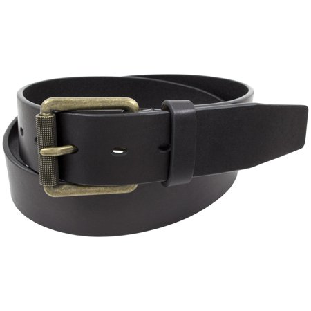 Stacy Adams Belts Stacy Adams 38mm One-Piece Black Genuine Leather Antique Brass Roller Buckled (A198 One Piece Buckle Belt)