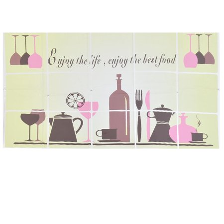 Kitchen Teapot Wine Glass Pattern Grease Oil Proof Wall Sticker Decor 45 x 75cm
