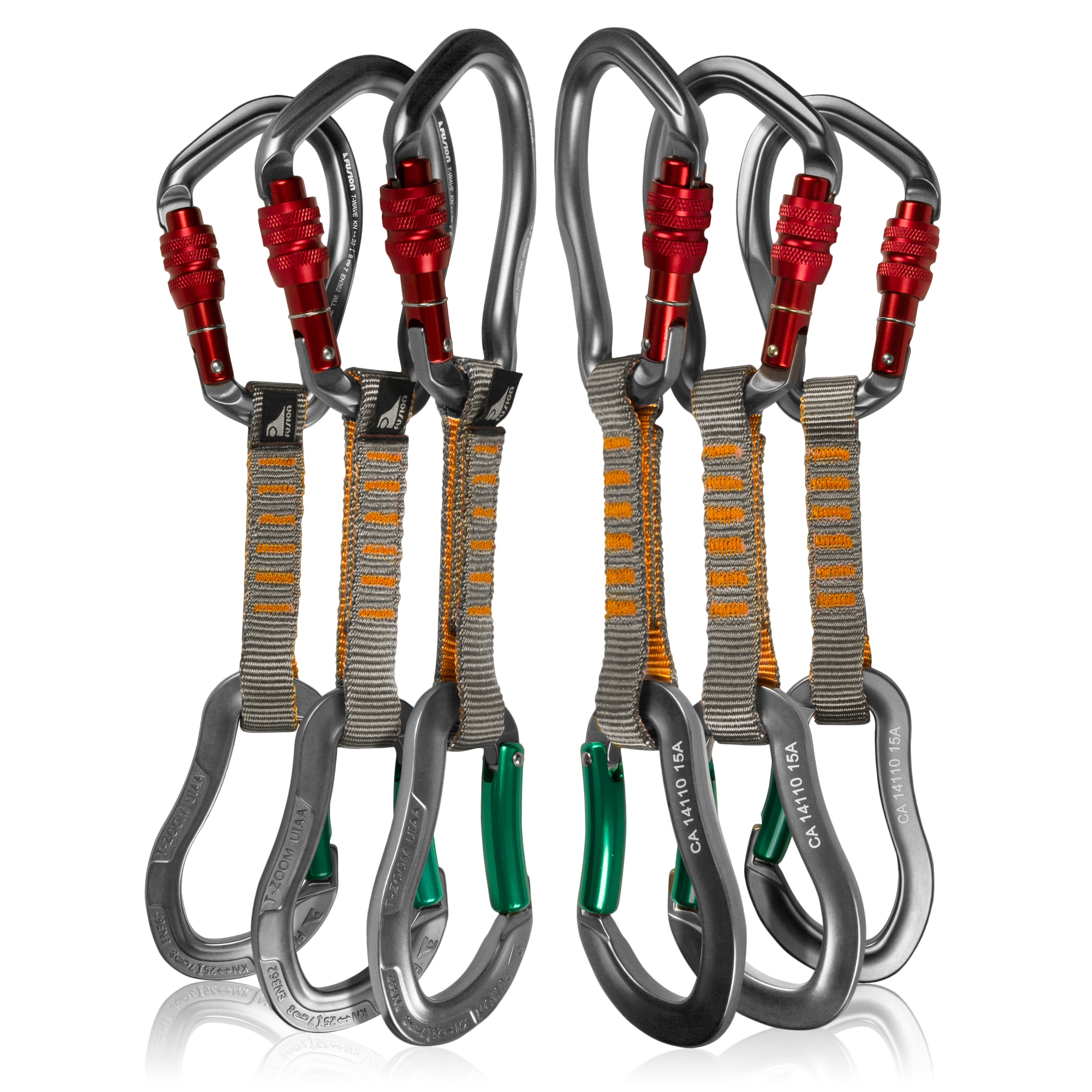 Fusion Climb 6-Pack 11cm Quickdraw Set with Techno Wave Burgundy Screw Gate Carabiner/Techno Zoom Green Bent Gate Carabiner