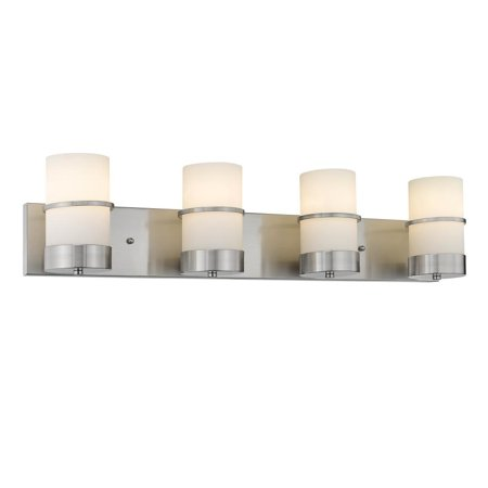 CHLOE Lighting PENELOPE Contemporary 4 Light Brushed Nickel Bath Vanity Light Etched White Glass 32
