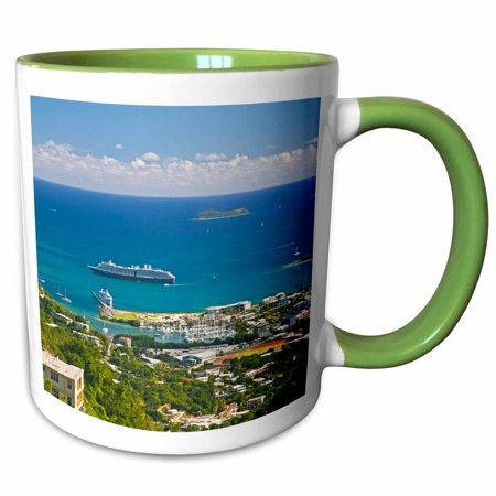 3dRose Holland America Cruise, The Zuiderdam, Caribbean-CA10 JRE0044 - Joe Restuccia III - Two Tone Green Mug, 11-ounce ()