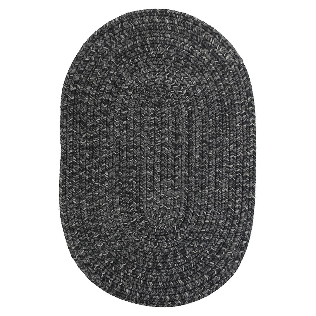 Homespice Black Braided Oval Rug - (2 foot 6 inch x 9 foot)