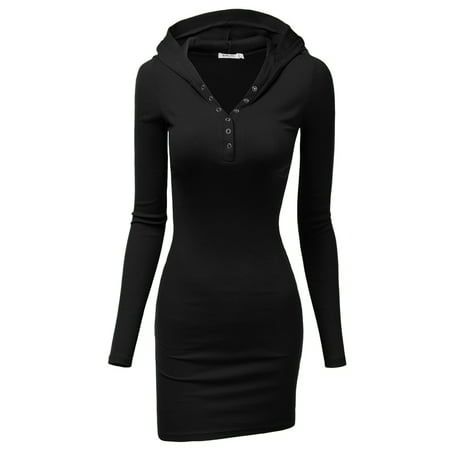 Casual Gold Dress (Doublju Women's Henley Neck Knit Stretchable Elasticity Long Sleeve Slim Fit Hoodie Dress BLACK 2XL Plus)