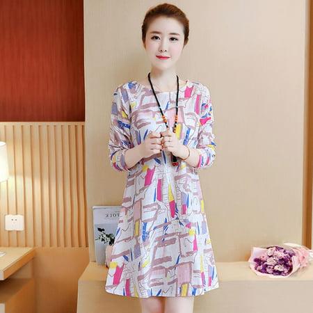 Wear Spring (Women Long Sleeve Printing Dress for Spring Summer Wear Pink S)