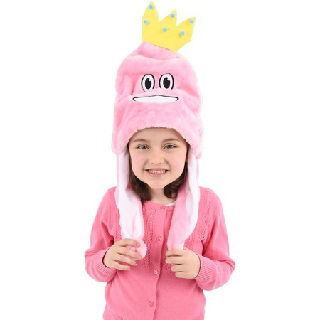 Child's Pink Princess Smiling Emoji Emoticon Pom Pom Hat Costume Accessory - Halloween Smiley Emoticons