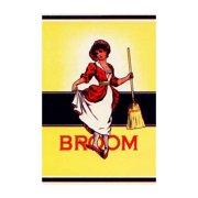 """Dainty Woman Broom Label"" Print (Black Framed Poster Print 20x30)"