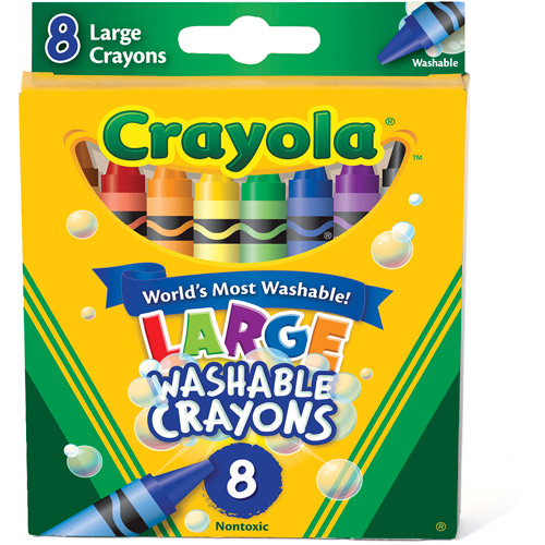 Crayola Large Size Washable Crayons, 8 Pack