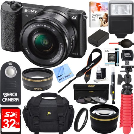 Sony Alpha a5100 HD 1080p Mirrorless Digital Camera Black + 16-50mm Lens Kit + Lexar 32GB Memory Card + DSLR Photo Bag + Extra Battery + Wide Angle Lens + 2x Telephoto Lens + Flash + Remote +