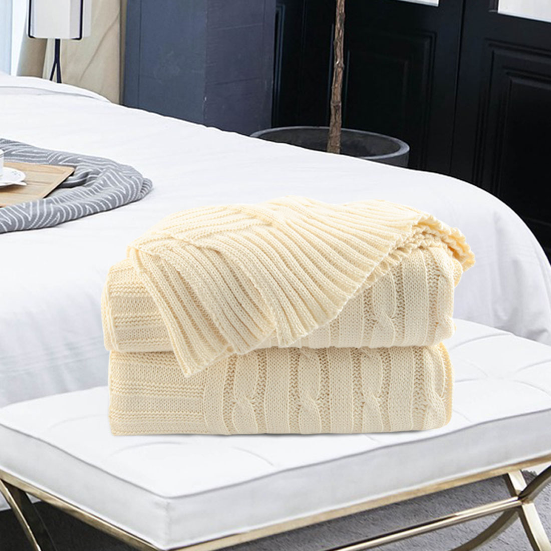 Cotton Knitted Throw Blanket Soft Warm Cable Knit Blanket , Light Blue