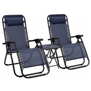 VINEEGO Patio Zero Gravity Chair Outdoor Folding Recliner Chairs with Table Pool Side Using Lawn Chair Sets with Pillow (Deep Blue)