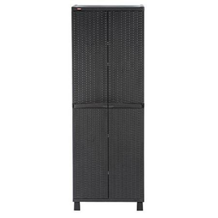 Keter Tall Resin Plastic Rattan Storage Cabinet,