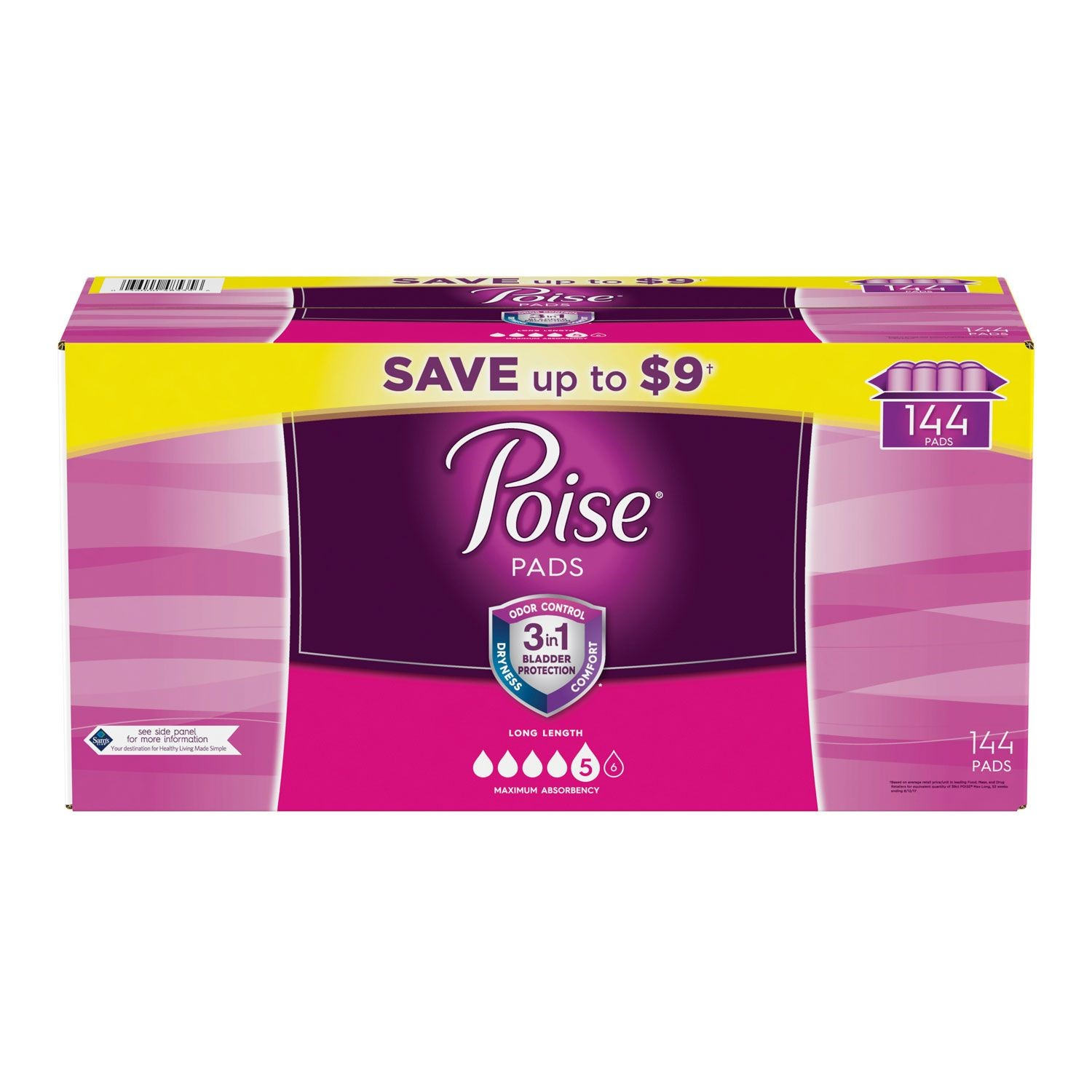 Poise Incontinence Pads, Maximum Absorbency, Long, 144 Ct