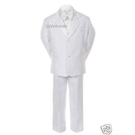 Baby Toddler Kid Teen 1st Communion Wedding Formal White Tuxedo Boy Suit sz S-20 - First Communion Suit Boy
