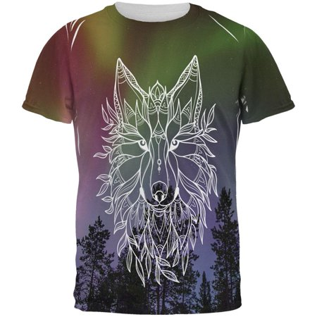 Wolf Northern Lights Night Line Art All Over Mens T Shirt Multi 2XL