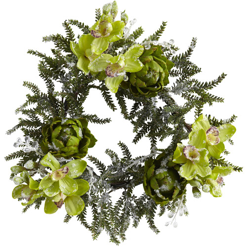 "Nearly Natural 22"" Iced Cymbidium and Artichoke Wreath"
