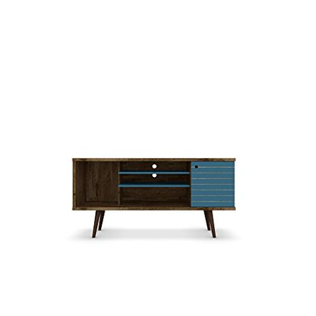 ModHaus Living Modern Transitional Solid 5 Shelf Single Door TV Stand with Flared Legs - Includes Pen (Brown/Blue - -